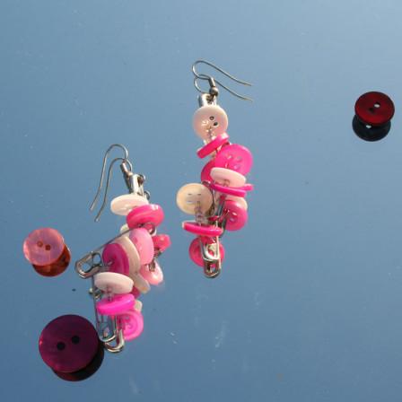 Boucles d'Oreilles Fibules Roses