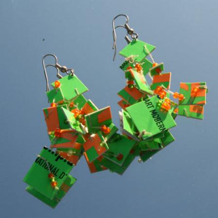 Boucles d'Oreilles Folies Vertes et Oranges