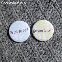 Kit de 2 badges Futurs Mariés - « Bride & Groom To Be »