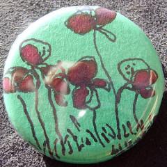 Badge Coquelicots Turquoises