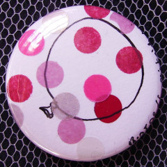 Badge Ballon à Pois Roses