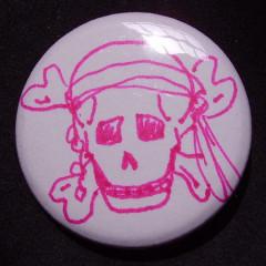 Badge Tête de Mort Rose