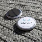 Badge/Magnet/Aimant Merci ! - Oiseaux & Toile de Jute