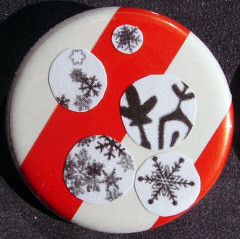 Badge Flocons - Rayures Rouges & Blanches