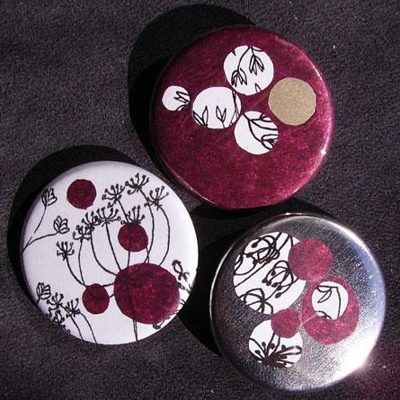 Badges Fleurs - Prune