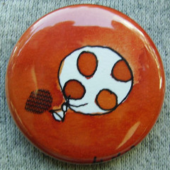Badge Ballon à pois Orange