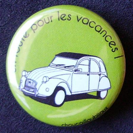 Badges 2CV - En route pour les vacances ! Vert