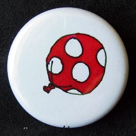 Badge Ballons - Rouge à pois blancs