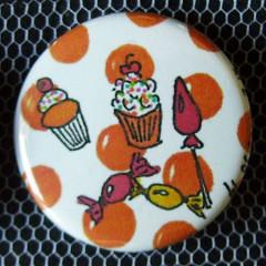 Badge Gourmandise - Friandise à Pois Orange