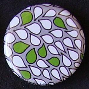 Badge Motifs Verts - Pétales Gris Vert