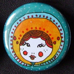 Badge Poupées Russes - Turquoise & Jaune