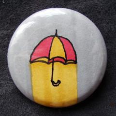 Badge Parapluie Gris Jaune Rouge