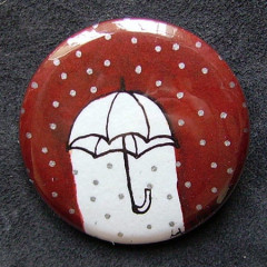 Badge Parapluie Rouge Pois Argent