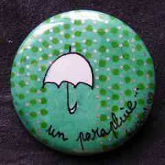 Badge Parapluie Vert Pois Argent