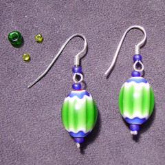 Boucles d'Oreilles Venise simple Verte