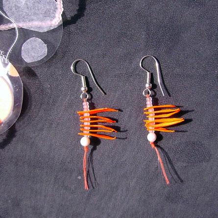Boucles d'Oeilles Rubans Orange Fluo