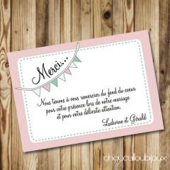 Carton de remerciement - Ludivine & Gérald - Fanion