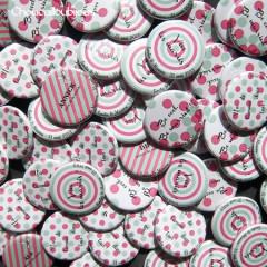 Badges mariage personnalisés Emilie & Maxime – Rose & Turquoise