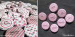 """Mariage """"Rose & Turquoise"""", badges personnalisés de Emilie & Maxime"""