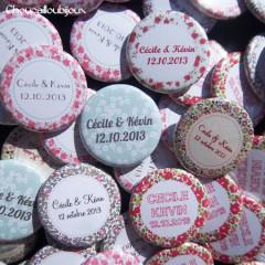 Mariage «Multi Liberty», badges personnalisés de Cécile & Kévin