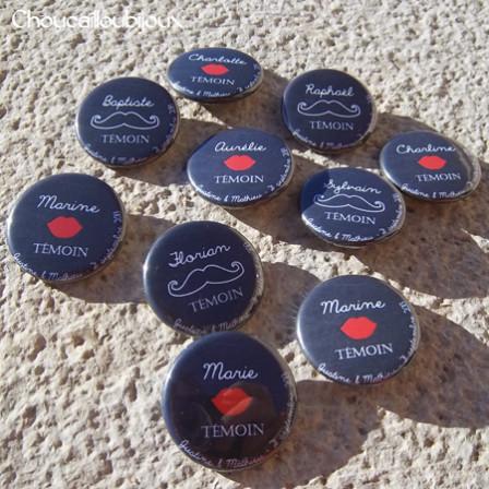 """Mariage """"Témoins Photobooth"""", badges personnalisés de Justine & Mathieu"""