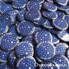 """Mariage """"Nuit étoilée"""", badges personnalisés de Jessica & John"""
