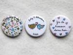 """Mariage """"Fleurs & Oiseaux Pastels"""", badges personnalisés de July & Sébastien"""
