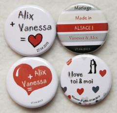 Badges mariage personnalisés Vanessa & Alix – Rouge, Noir & Gris
