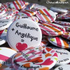 Badges mariage personnalisés Guillaume & Angélique – Vert, Orange, Rose