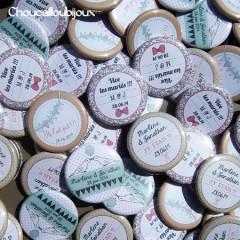 Badges mariage personnalisés Marlène & Jonathan – Liberty Retro