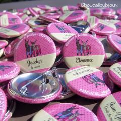"""Mariage """"Ânes en culotte"""", badges personnalisés de Jocelyn & Clémence"""