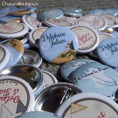 """Mariage """"Corse & Fanions"""", badges personnalisés de Delphine & Julien"""