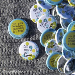 """Mariage """"Pois Vert Pomme et Bleu Turquoise"""", badges personnalisés de Laura & Mathieu"""