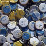 Badges mariage personnalisés Susie & David - Oiseaux Jaunes & Bleus