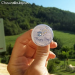 """Mariage """"Oiseaux Jaunes & Bleus"""", badges personnalisés de Susie & David"""