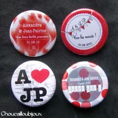 "Mariage ""Rouge New-York"", badges personnalisés de Alexandra & JP"