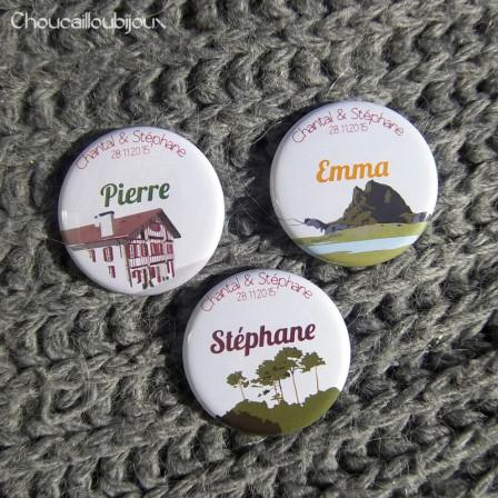 Mariage «Sud-Ouest», badges personnalisés de Chantal & Stéphane