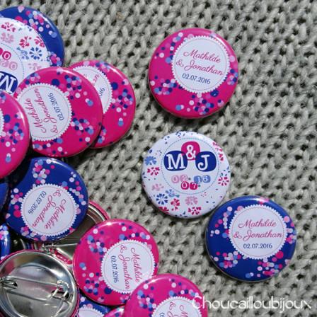 "Mariage ""Rose Fuchsia & Bleu Marine"", badges personnalisés de Mathilde & Jonathan"