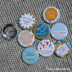 Badges mariage personnalisés Karine & Philippe - Orange & Turquoise