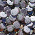 """Mariage """"Liberty & Chevrons"""", badges personnalisés de Margaux & Alexandre"""