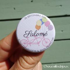 *Mariage «Vélo & Ballons Pastels», badges personnalisés de Anne-Charlotte & Jean-François