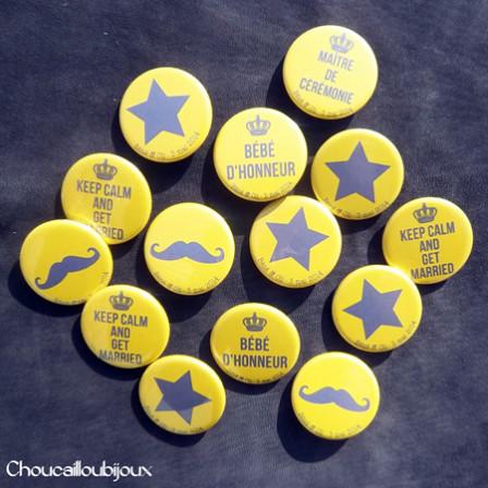 """Mariage """"Keep Calm!"""", badges personnalisés de Béné & Oli"""