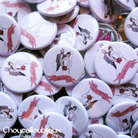 "Mariage ""Portaits"", badges personnalisés de Cynthia"