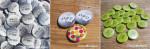 """Mariage """"Argent & Vert Pomme"""", badges personnalisés de Marie & Damien"""