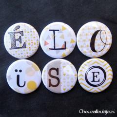Badges/Magnets Personnalisés Naissance Eloïse - Motif Jaune & Beige
