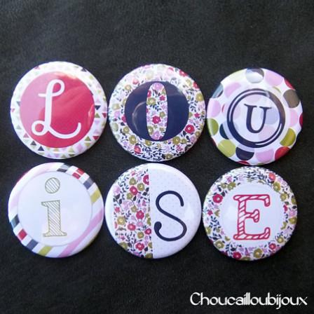 Badges/Magnets Personnalisés Naissance Louise - Pois & Liberty