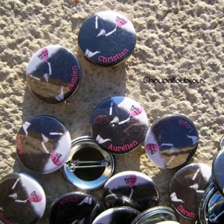 Badges Personnalisés Anniversaire Pauline - Ballon Rose
