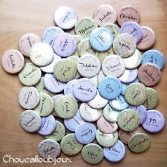 """Anniversaire de mariage """"Rayures Pastels"""", badges personnalisés de Aurélie & Greg"""