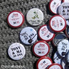 Badges personnalisés Anniversaire Tony & MJ - 30 ans, Guitare & Mojitos
