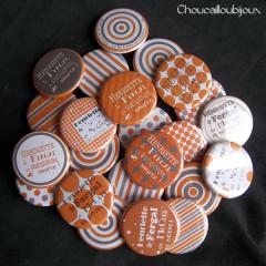 Badges personnalisés EVJF Henriette - Orange & Gris